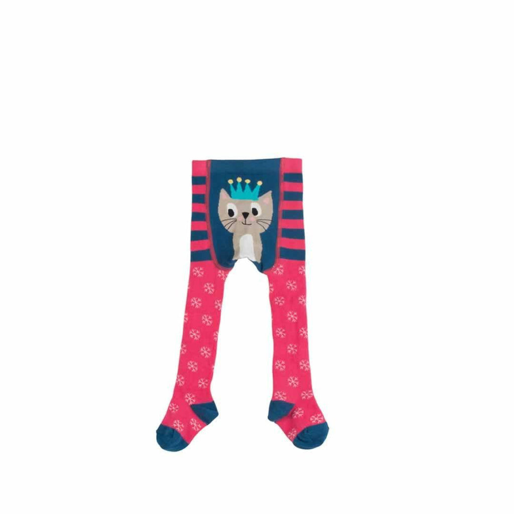 Frugi Crawl Away Tights in Raspberry Cat