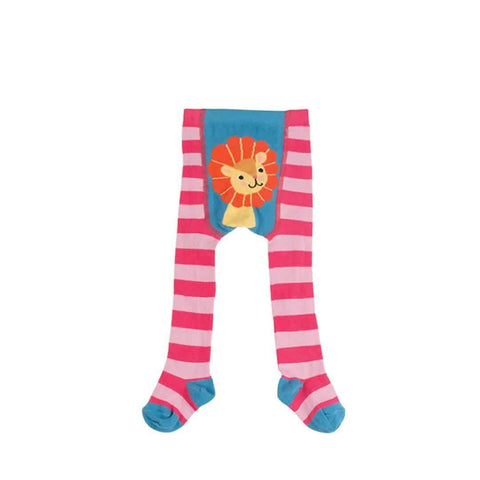Frugi Crawl Away Tights in Raspberry/Lion