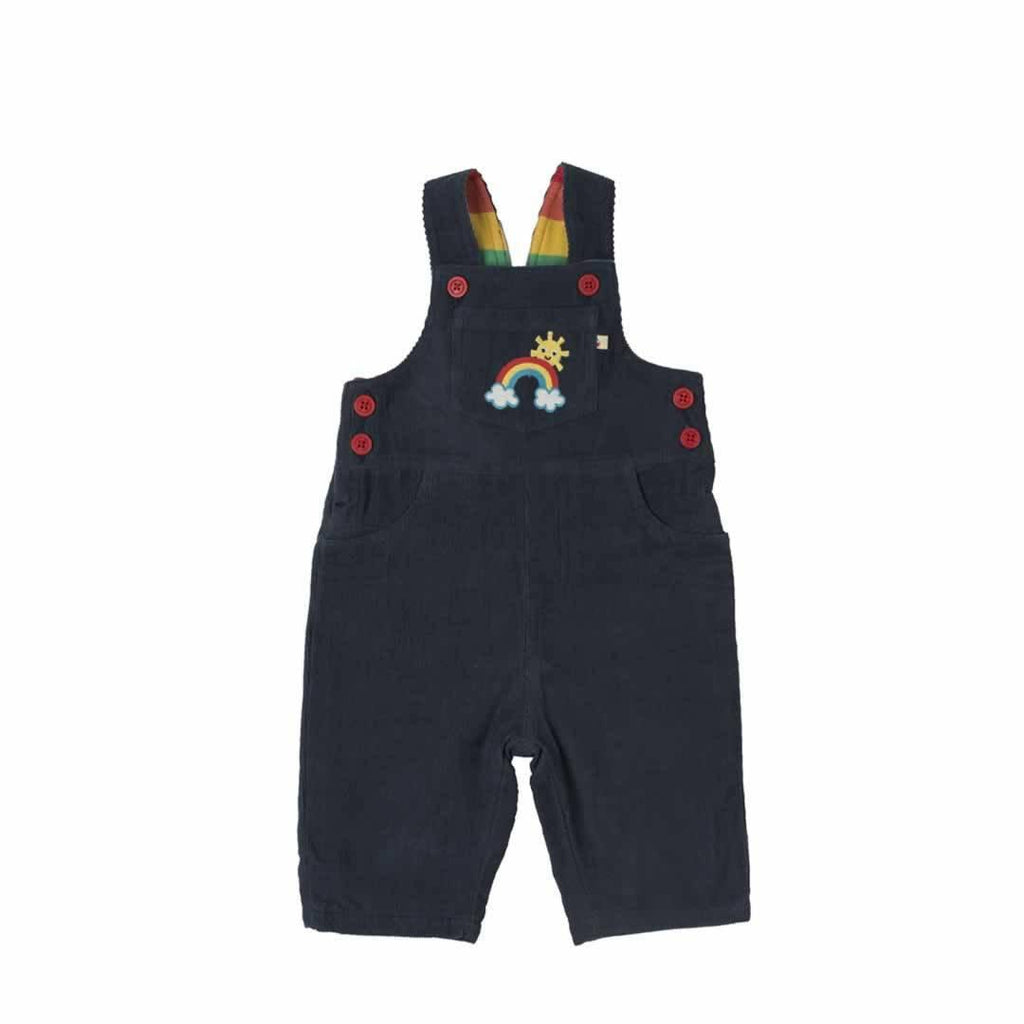 Frugi Dylan Dungarees in Navy/Rainbow