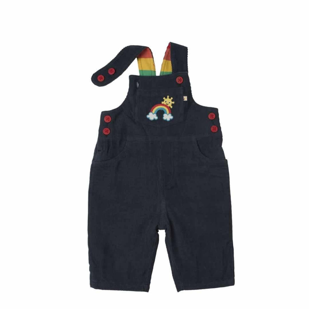 Frugi Dylan Dungarees Navy/Rainbow