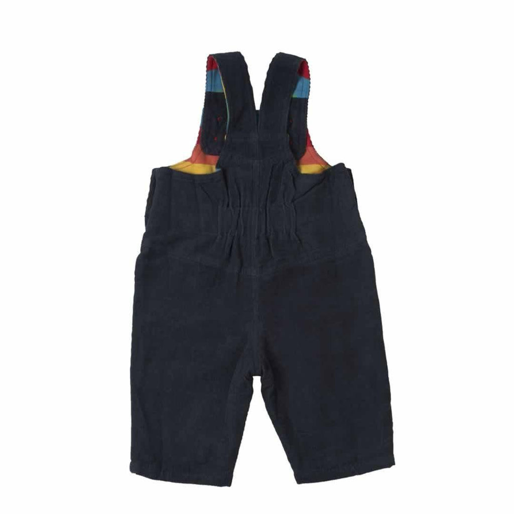 Frugi Dylan Dungarees - Navy/Rainbow Back