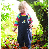 Frugi Dylan Dungarees - Navy/Rainbow Lifestyle