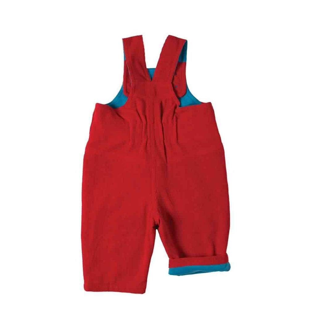 Frugi Dylan Dungarees - Tomato/Tractor Back