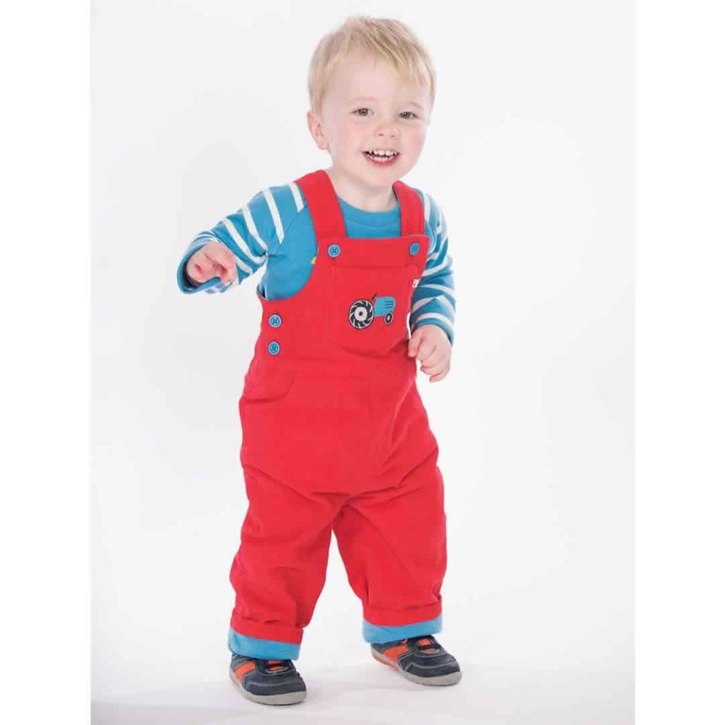 Frugi Dylan Dungarees - Tomato/Tractor Lifestyle
