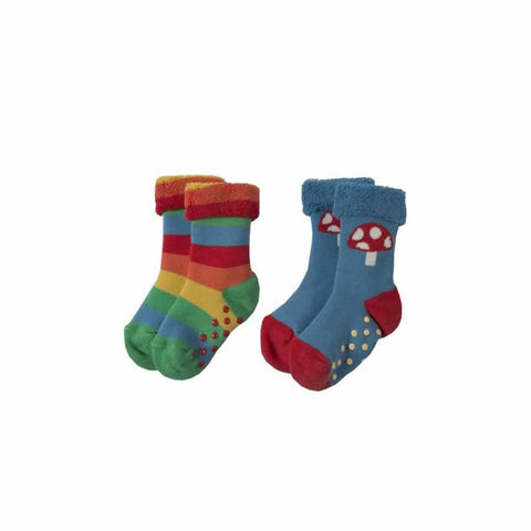 Frugi Grippy Socks 2 Pack Rainbow