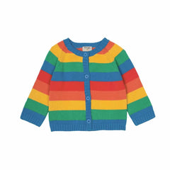Frugi Happy Day Cardigan in Rainbow Stripe