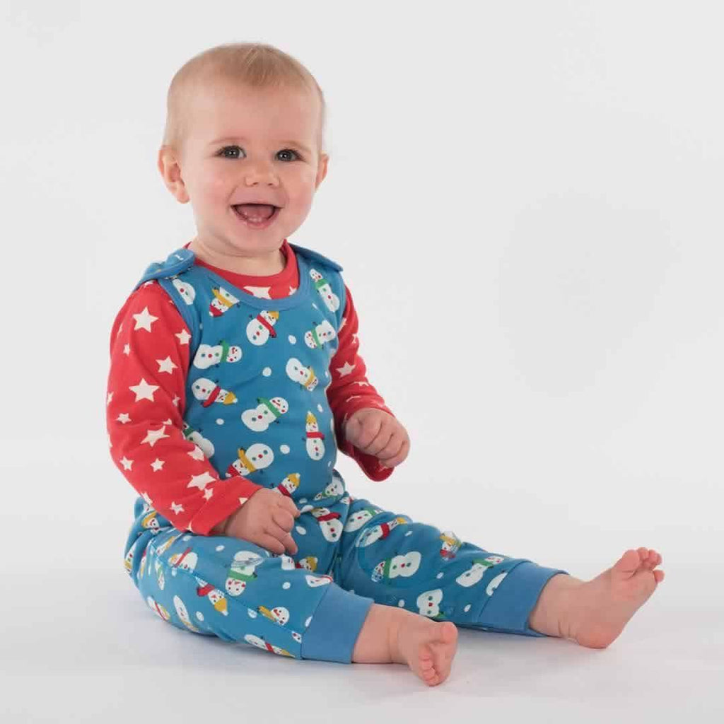 Frugi Kneepatch Dungarees - Snowmen Lifestyle