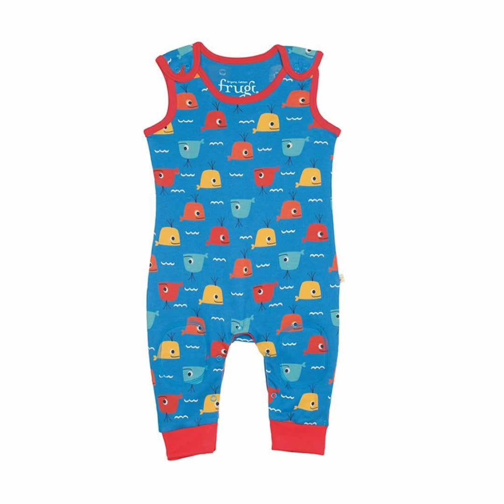 Frugi Kneepatch Dungarees Whale Friends