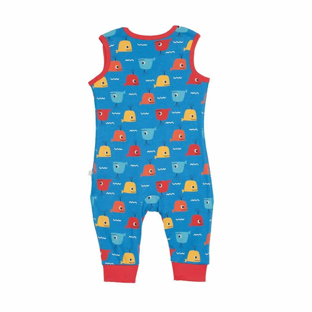 Frugi Kneepatch Dungarees Whale Friends Back