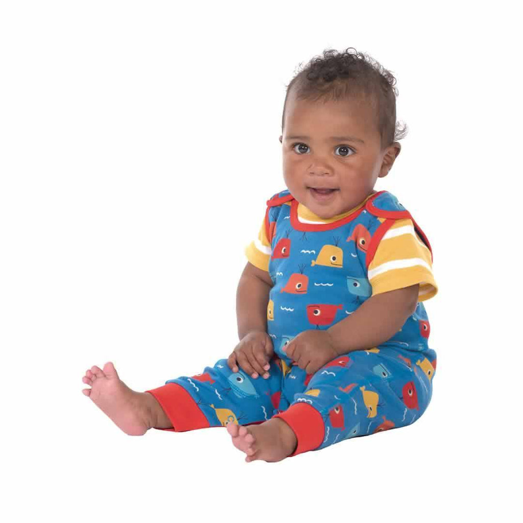 Frugi Kneepatch Dungarees Whale Friends Lifestyle