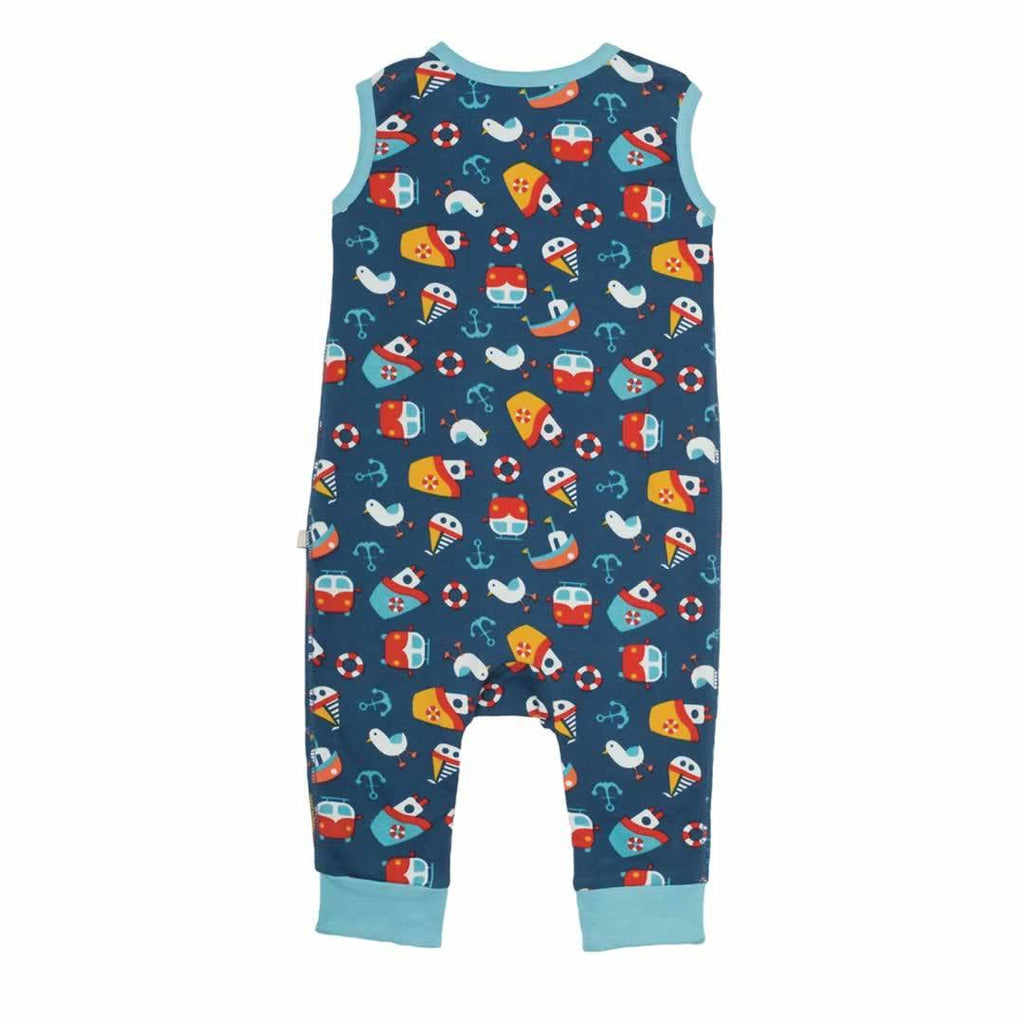 Frugi Kneepatch Dungarees Day At The Seaside Back