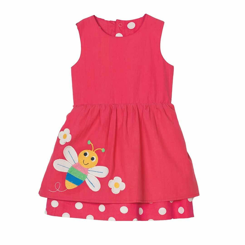 Frugi Lamorna Reversible Dress in Raspberry Spot/Bug