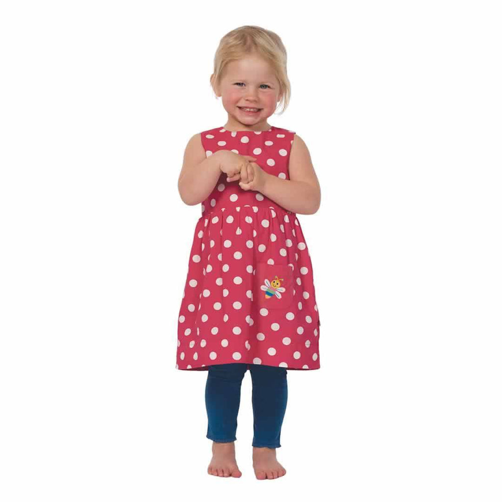 Frugi Lamorna Reversible Dress Raspberry Spot/Bug Lifestyle