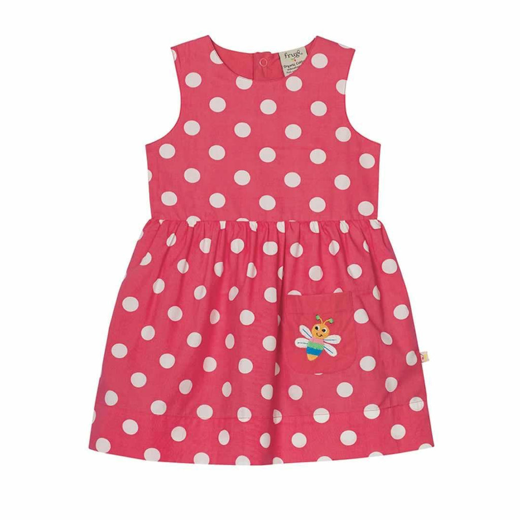 Frugi Lamorna Reversible Dress Raspberry Spot/Bug