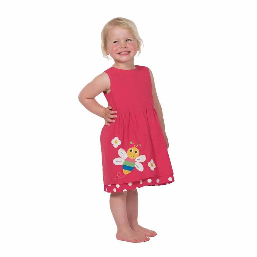 Frugi Lamorna Reversible Dress - Raspberry Spot/Bug Lifestyle