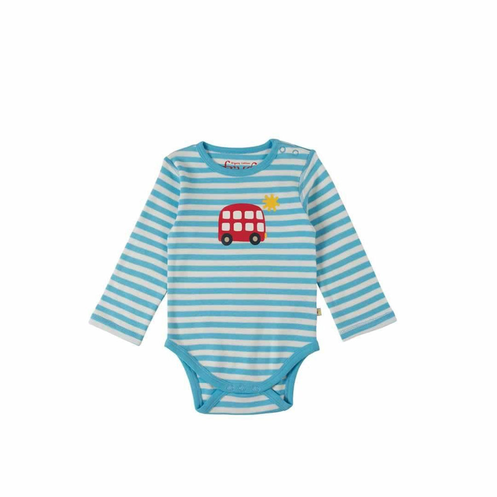 Frugi Lerryn Body in Soft Blue Fine Stripe/Bus
