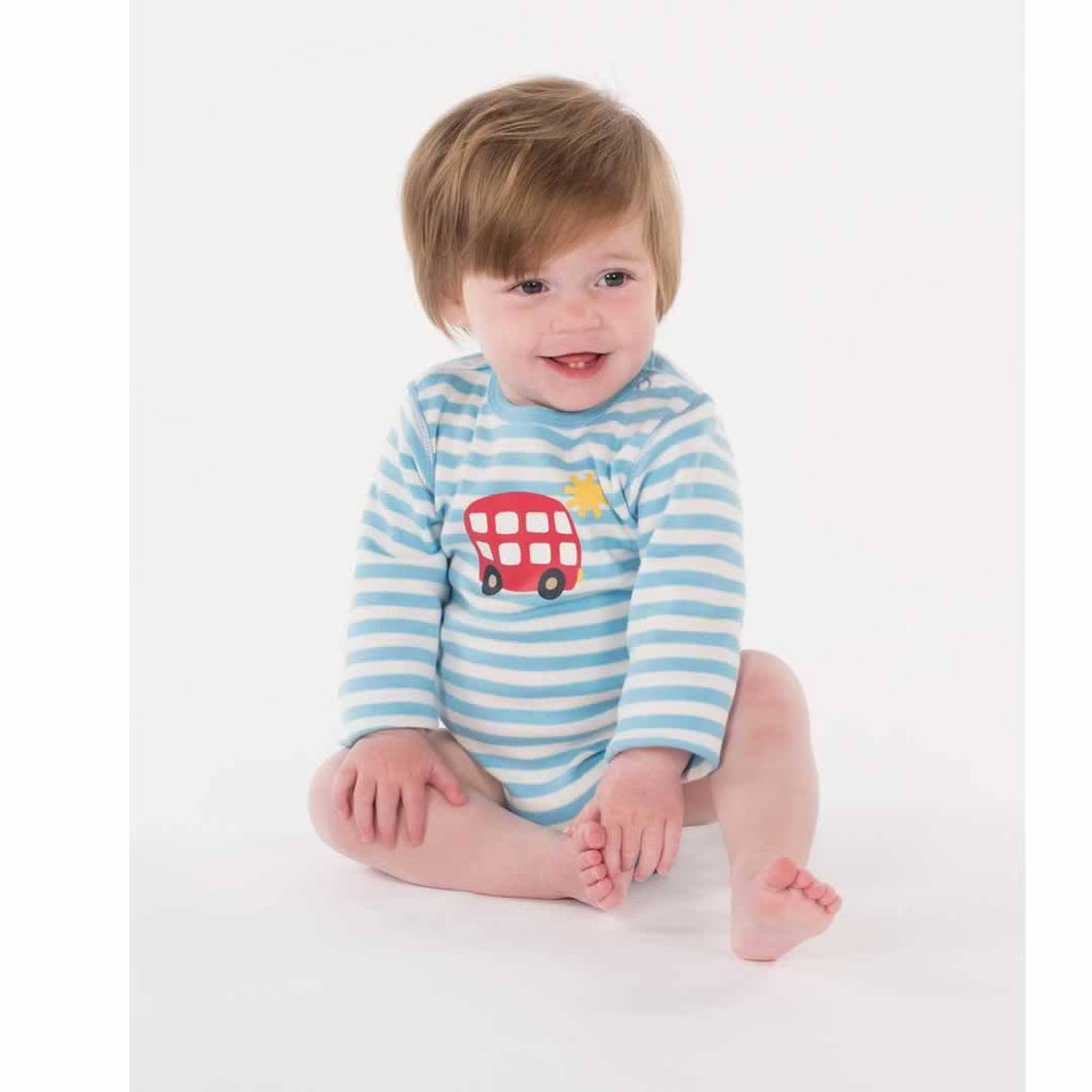 Frugi Lerryn Body - Soft Blue Fine Stripe/Bus Lifestyle