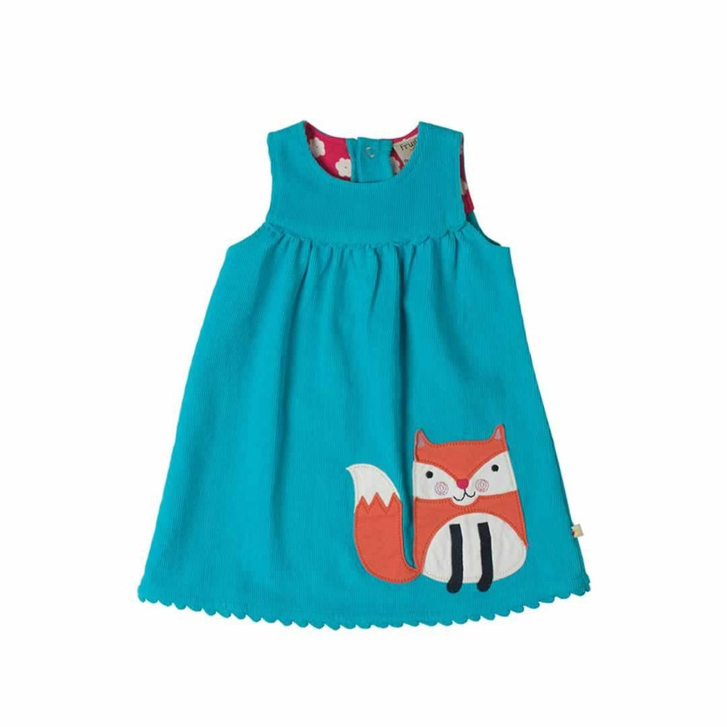 Frugi Lily Cord Dress in Cornish Sea/Fox