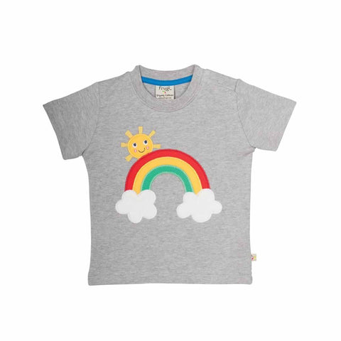 Frugi Little Creature Applique T-Shirt - Grey Marl/Rainbow - Tops & T-shirts - Natural Baby Shower