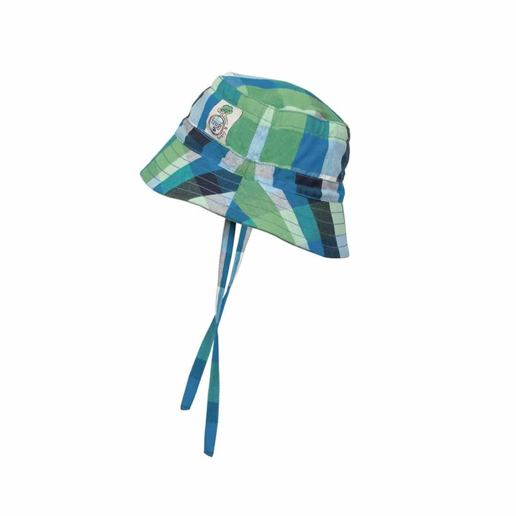 Frugi Little Dexter Hat in Green/Blue Multicheck