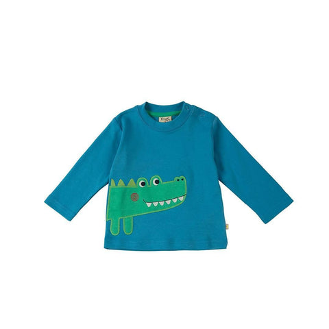 Frugi Little Discovery Applique Top in Harbour Blue/Croc