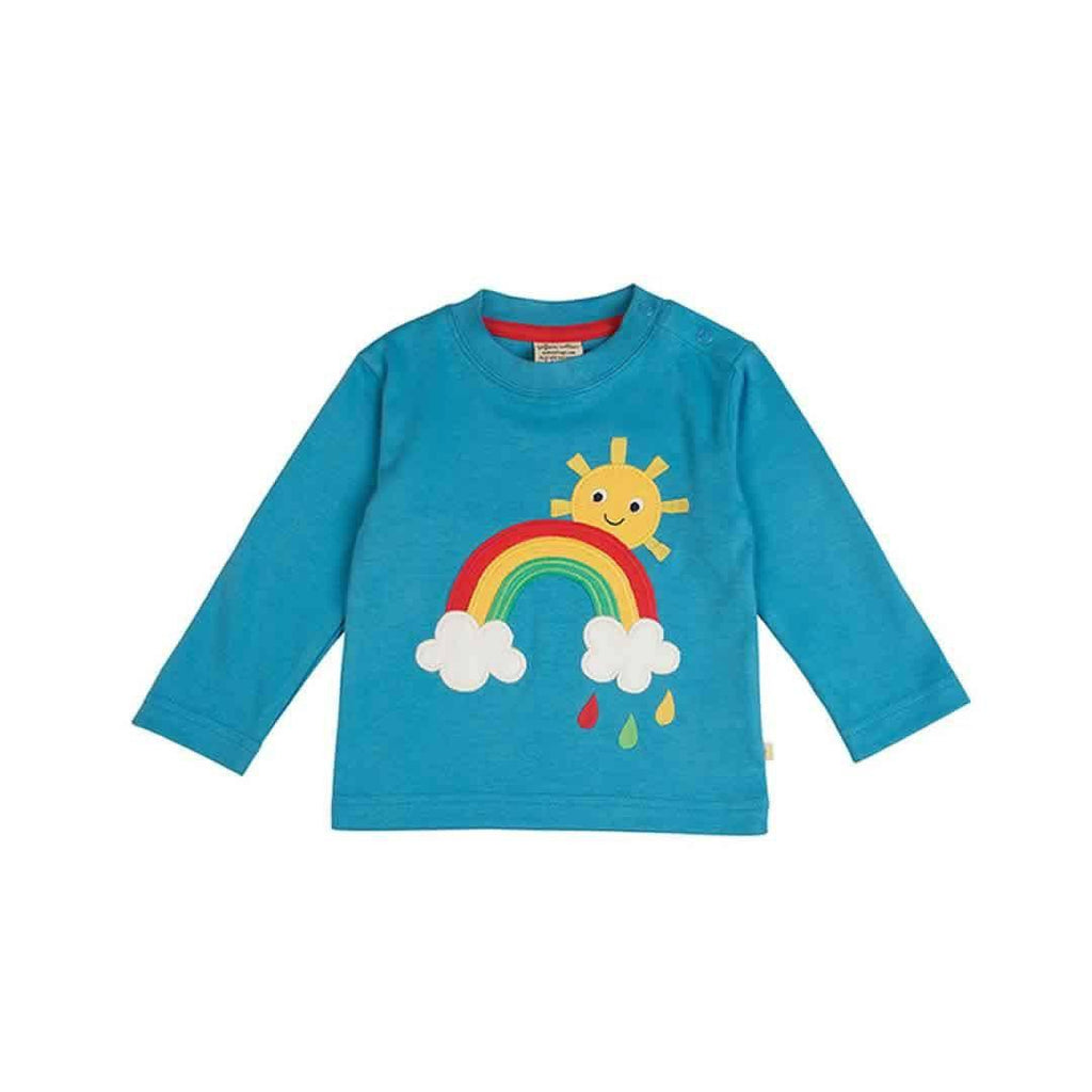 Frugi Little Discovery Applique Top in Harbour Blue/Rainbow