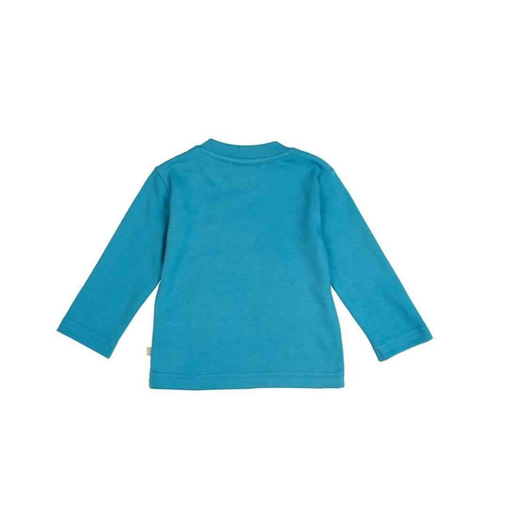 Frugi Little Discovery Applique Top - Harbour Blue/Rainbow Back