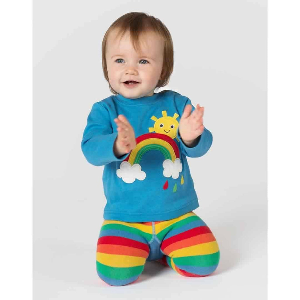 Frugi Little Discovery Applique Top - Harbour Blue/Rainbow lifestyle