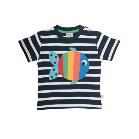 Frugi Little Fal Applique T-Shirt Navy Breton/Fish