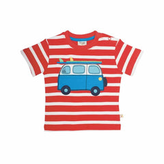 Frugi Little Fal Applique T-Shirt in Tomato Breton/Camper