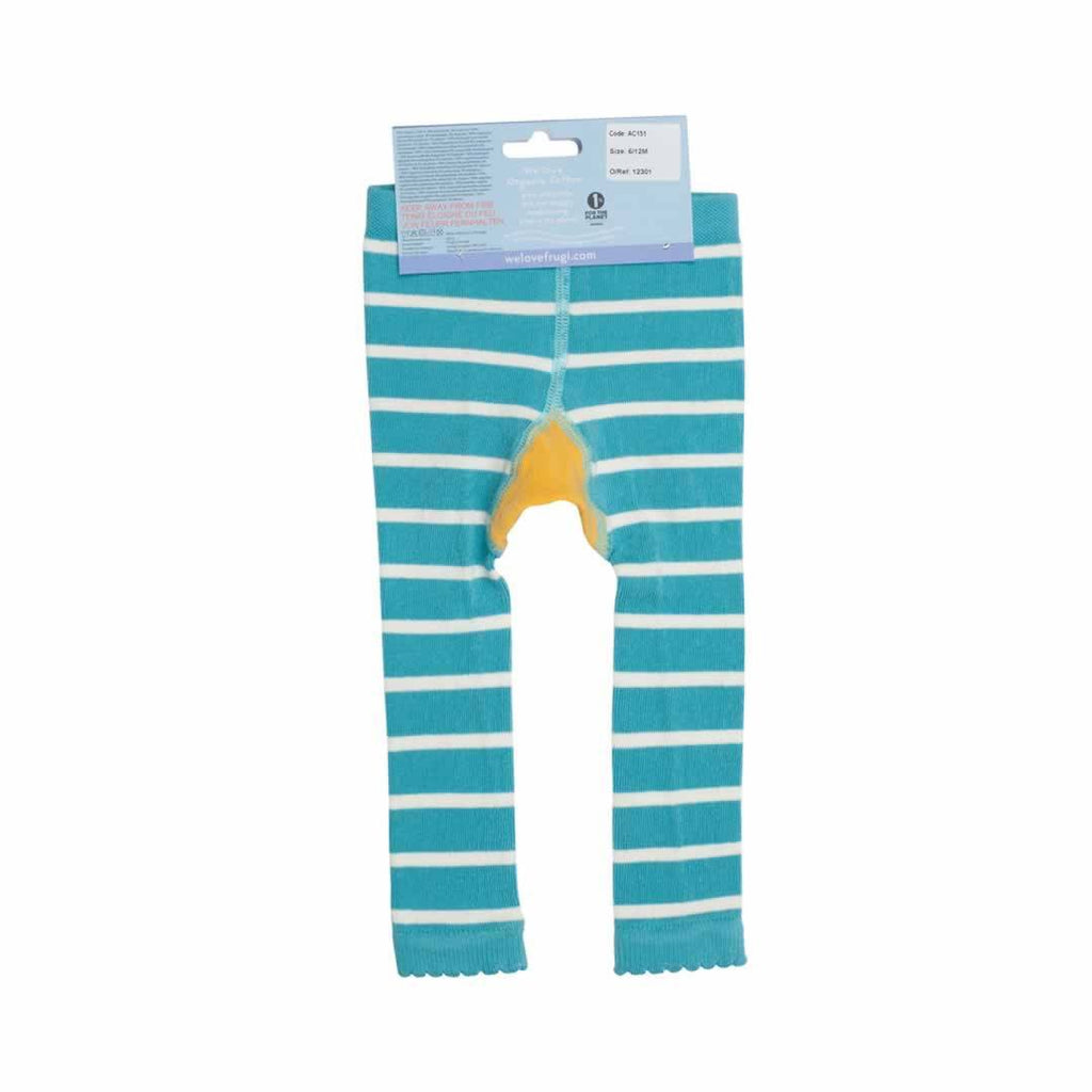 Frugi Little Knitted Leggings Aqua Breton/Seagull