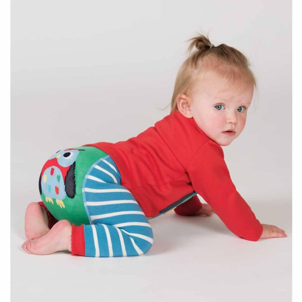 Frugi Little Knitted Leggings - Harbour Blue/Owl Lifestyle