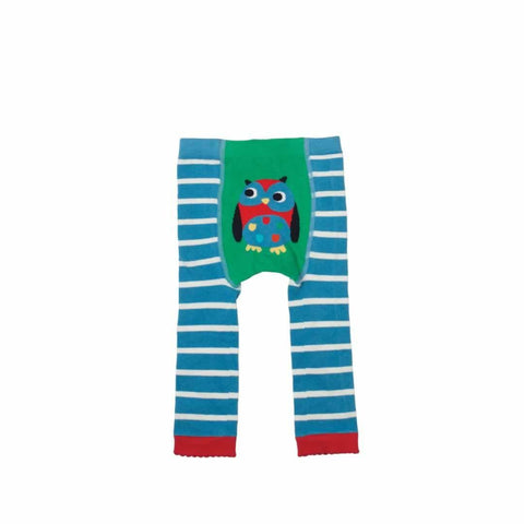 Frugi Little Knitted Leggings Harbour Blue/Owl