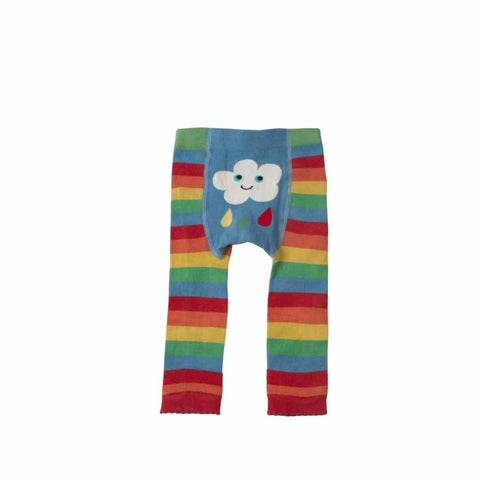 Frugi Little Knitted Leggings Rainbow Clouds