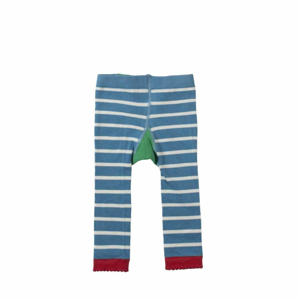 Frugi Little Knitted Leggings - Harbour Blue/Owl Back