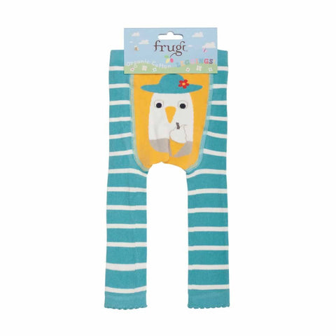Frugi Little Knitted Leggings in Aqua Breton/Seagull