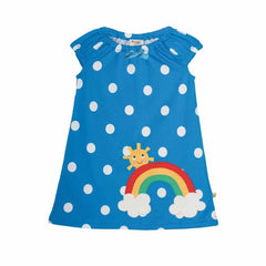 Frugi Little Lola Dress in Diver Blue Spot/Rainbow