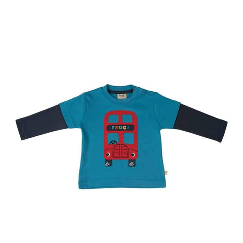 Frugi Little Look-Out Applique Top in Harbour Blue/Bus
