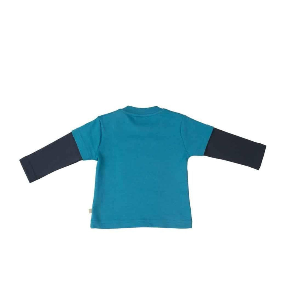 Frugi Little Look-Out Applique Top Harbour Blue/Bus