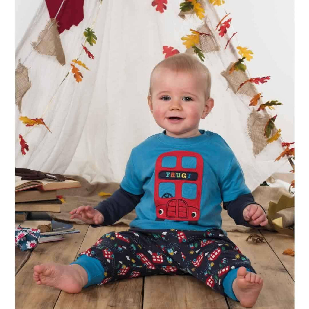 Frugi Little Look-Out Applique Top - Harbour Blue/Bus Lifestyle