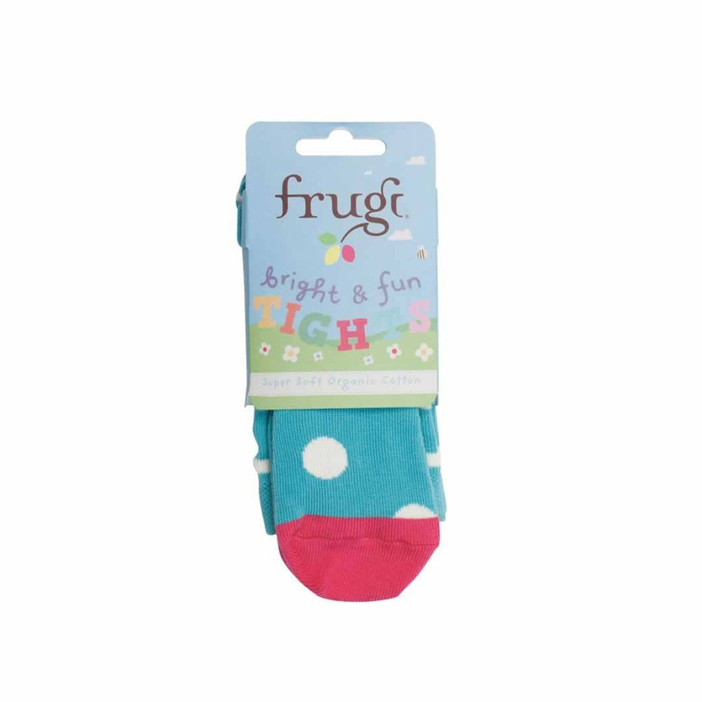 Frugi Little Norah Tights Aqua Spot
