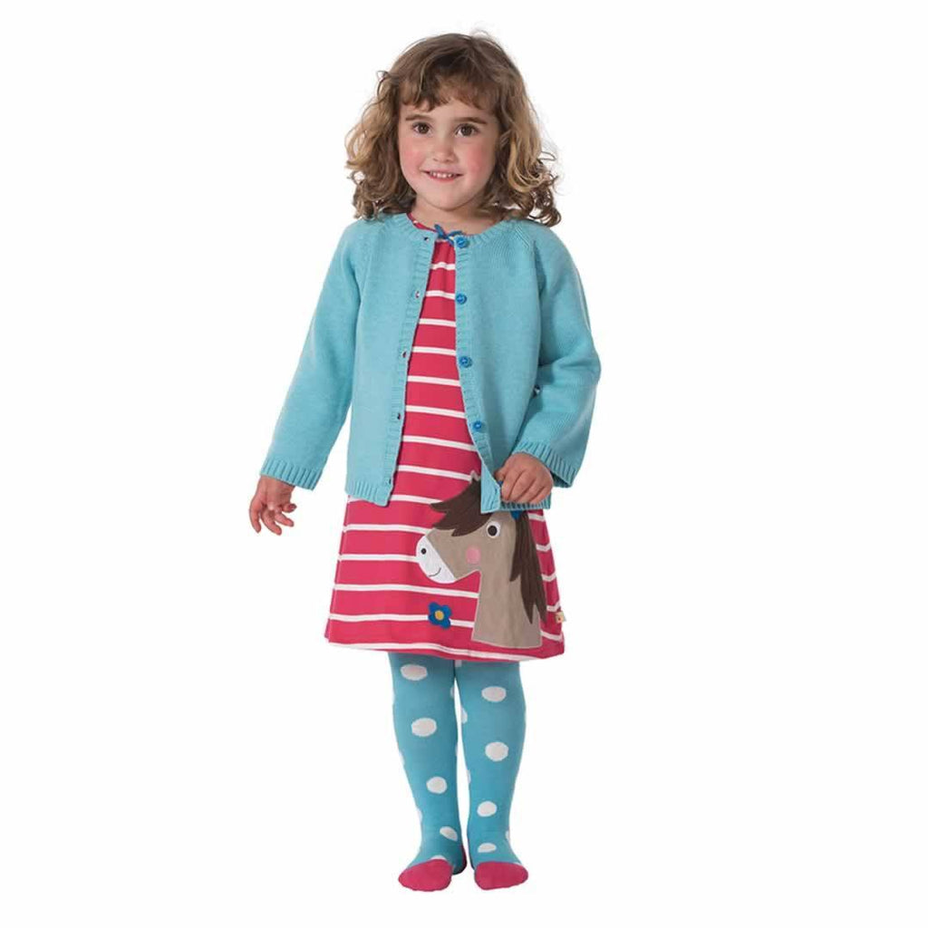 Frugi Little Norah Tights Aqua Spot Lifestyle