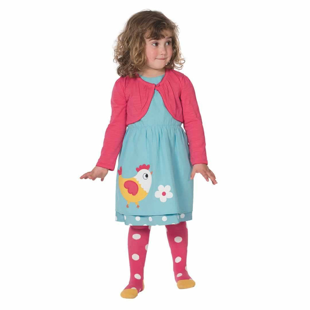 Frugi Little Norah Tights Raspberry Spot Lifestyle