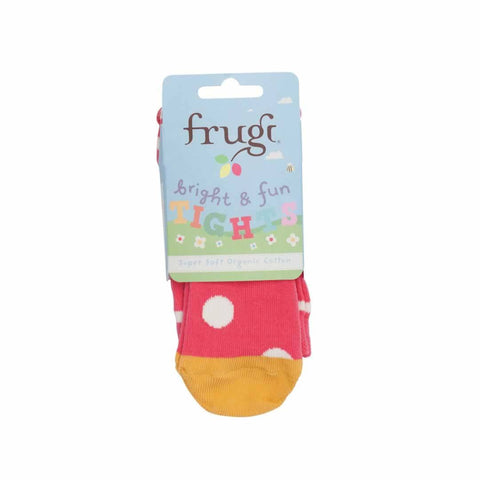 Frugi Little Norah Tights Raspberry Spot