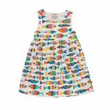 Frugi Little Pretty Party Dress Rainbow Fish