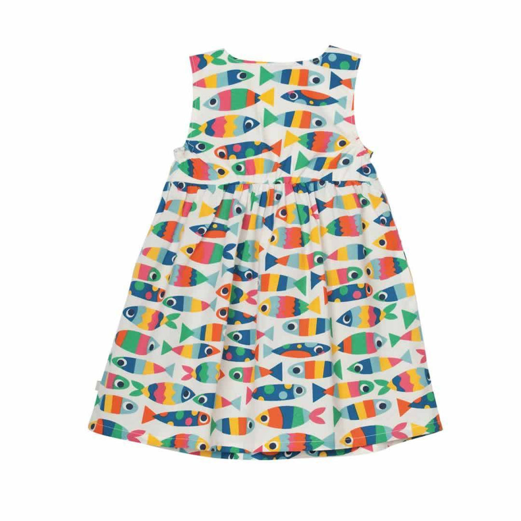Frugi Little Pretty Party Dress in Rainbow Fish