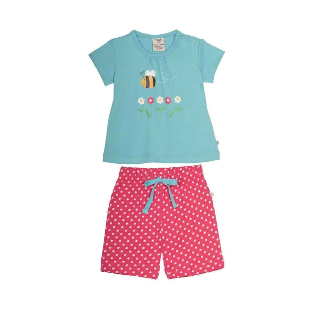 Frugi Little Primrose PJ's in Aqua/Bee