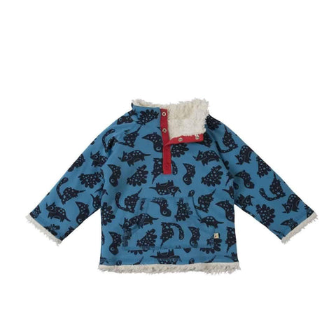 Frugi Little Snuggle Fleece in Blue Dinos