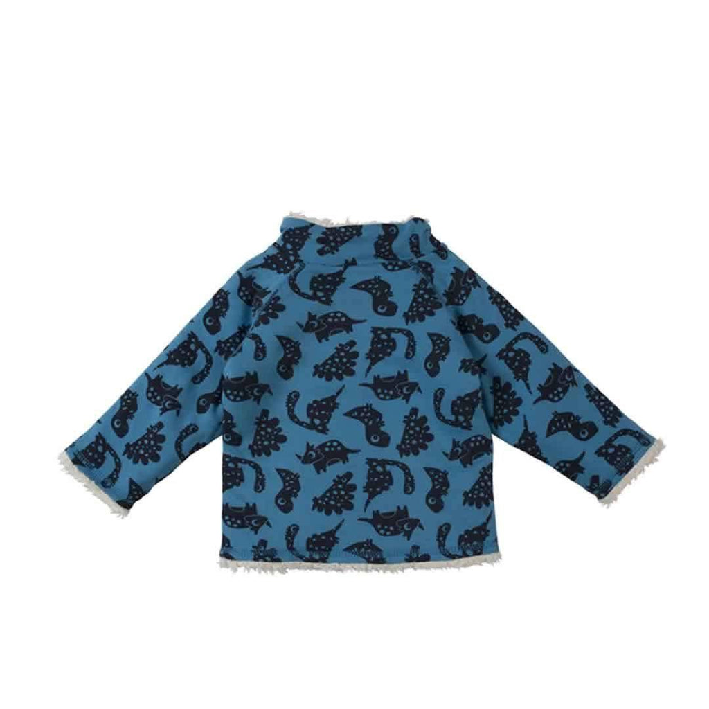 Frugi Little Snuggle Fleece - Blue Dinos Back