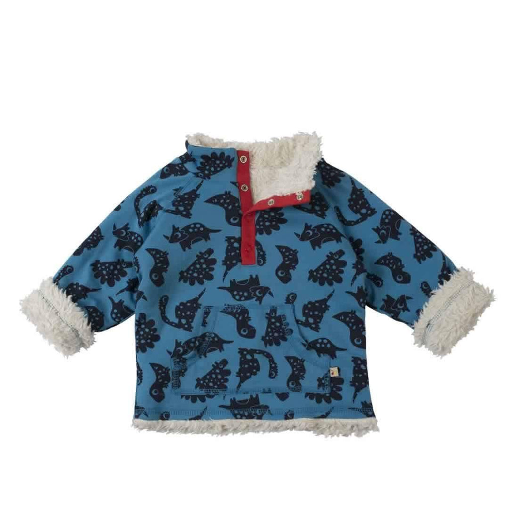 Frugi Little Snuggle Fleece Blue Dinos